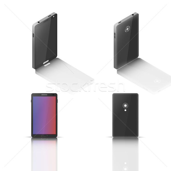 Cellulare specchio riflessione isolato bianco fronte Foto d'archivio © kup1984