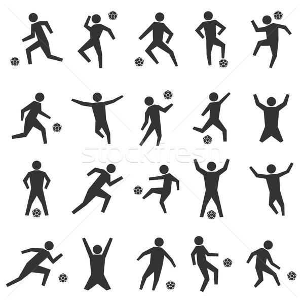 Szett bot futball játékosok fekete sziluettek Stock fotó © kup1984