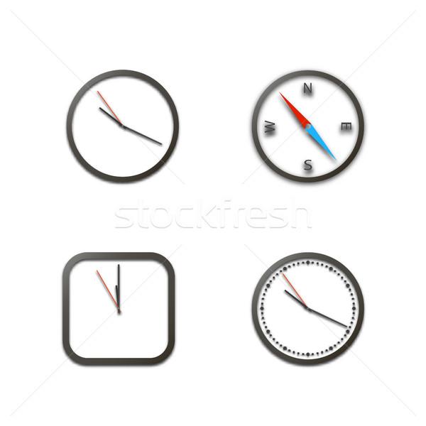 Valósághű ikonok óra iránytű izolált fehér Stock fotó © kup1984