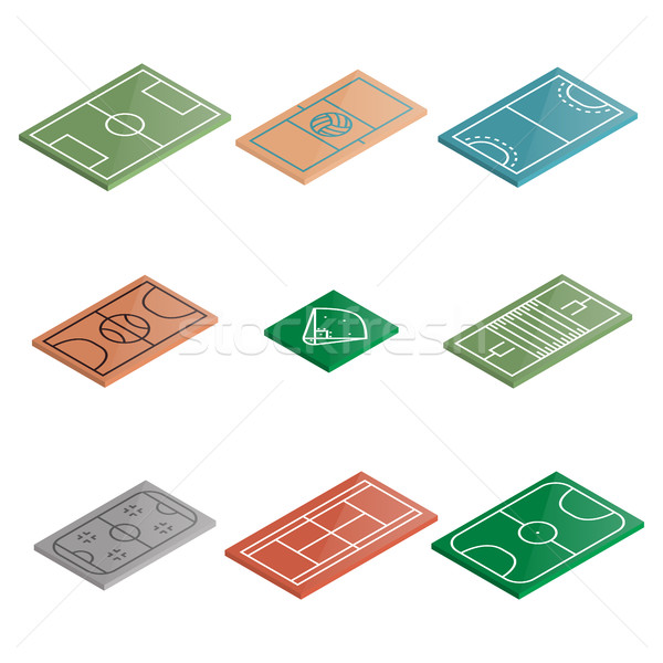 Set of icons playgrounds in isometric, vector illustration. Stock photo © kup1984