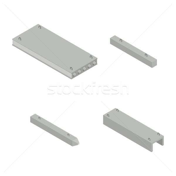 Conjunto ferro concreto produtos isométrica ver Foto stock © kup1984
