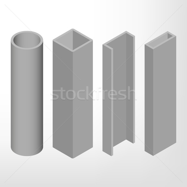 Steel beam isometric vector illustration. Stock photo © kup1984