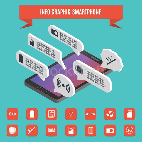 Elements of infographics smartphone isometric, vector illustration. Stock photo © kup1984