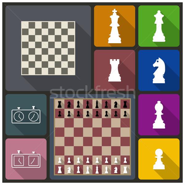 Chess icons, vector illustration. Stock photo © kup1984