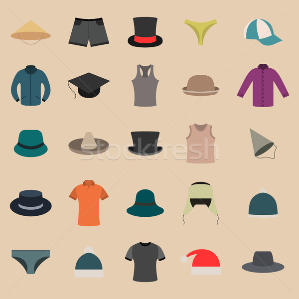 Stock photo: A set of clothes and hats, vector illustration.