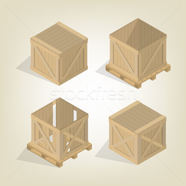 Realistic wooden box with pallet isometric, vector illustration. Stock photo © kup1984