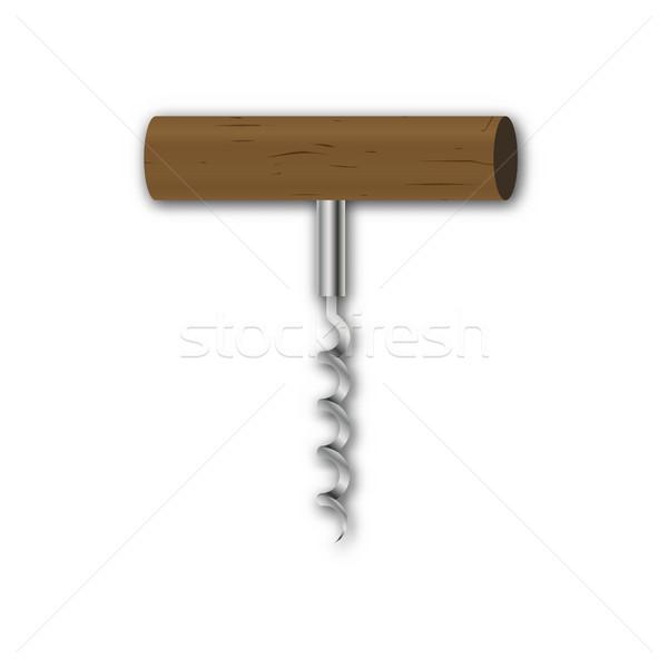 Dugóhúzó valósághű acél fából készült fogantyú izolált Stock fotó © kup1984