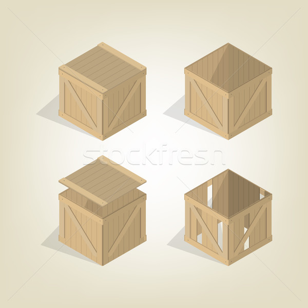 Realistic wooden box isometric, vector illustration. Stock photo © kup1984