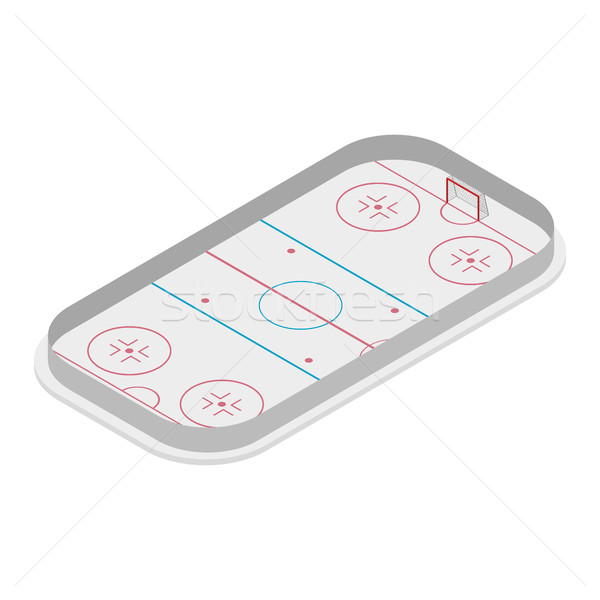 Field of play ice hockey isometric, vector illustration. Stock photo © kup1984