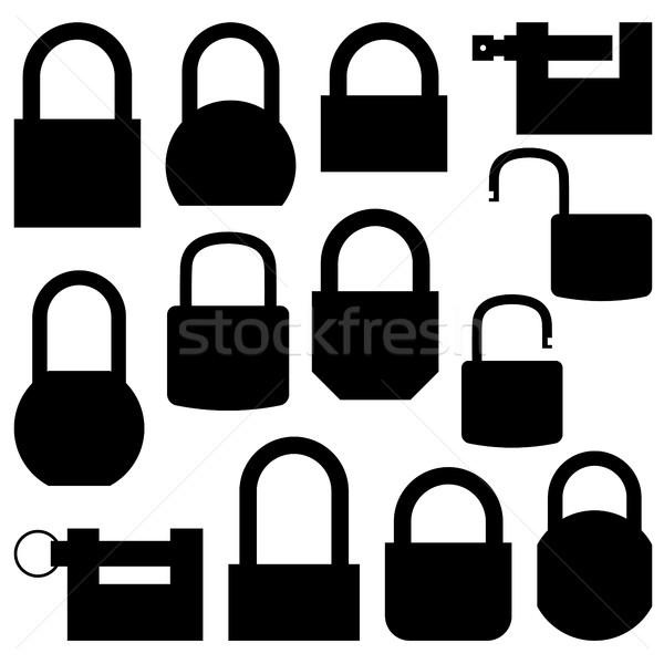 набор черный иконки блокировка различный Сток-фото © kup1984