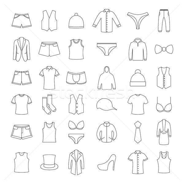 Iconos ropa delgado líneas vector ilustraciones Foto stock © kup1984