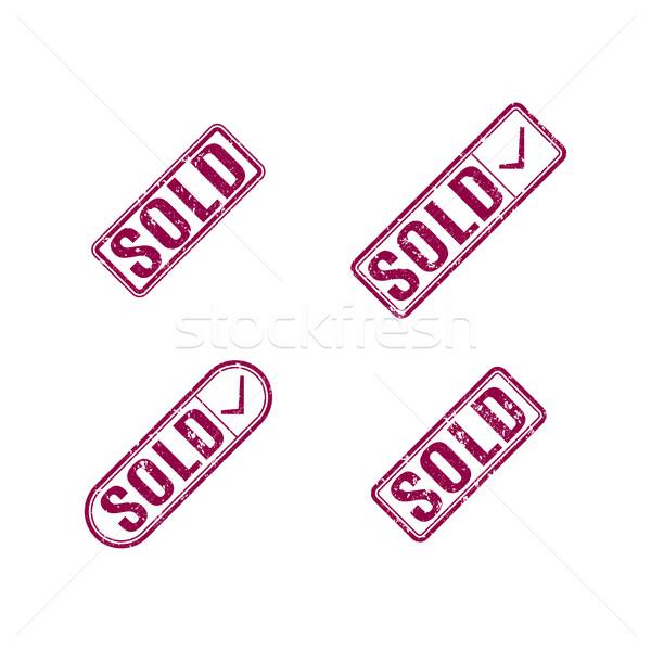 Conjunto selos vendido retangular sujo Foto stock © kup1984