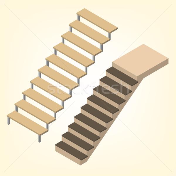 полет лестницы изометрический изолированный белый элемент Сток-фото © kup1984
