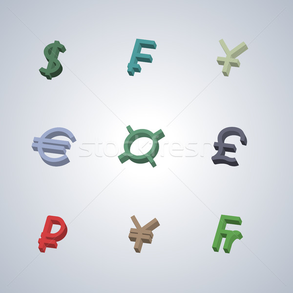 Currency Icons, vector illustration. Stock photo © kup1984