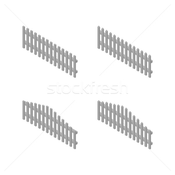 A set of isometric spans wooden fences, vector illustration. Stock photo © kup1984