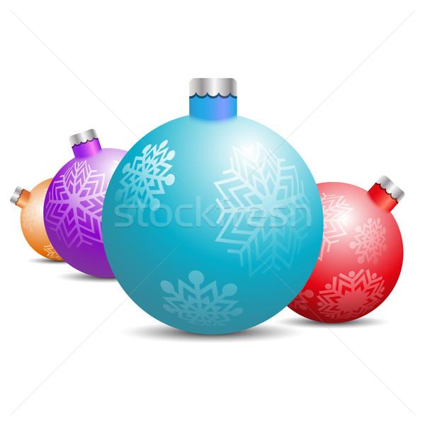 Játékok díszítések karácsonyfa fehér szett terv Stock fotó © kup1984