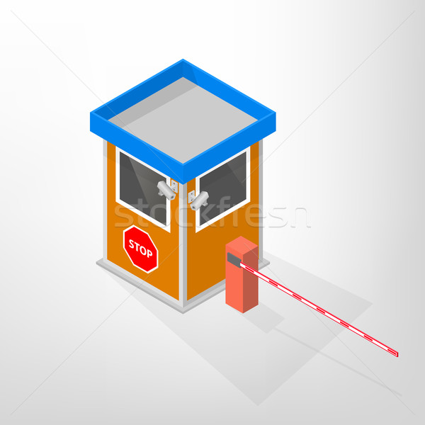 Security lodges with automatic barrier isometric, vector illustration. Stock photo © kup1984