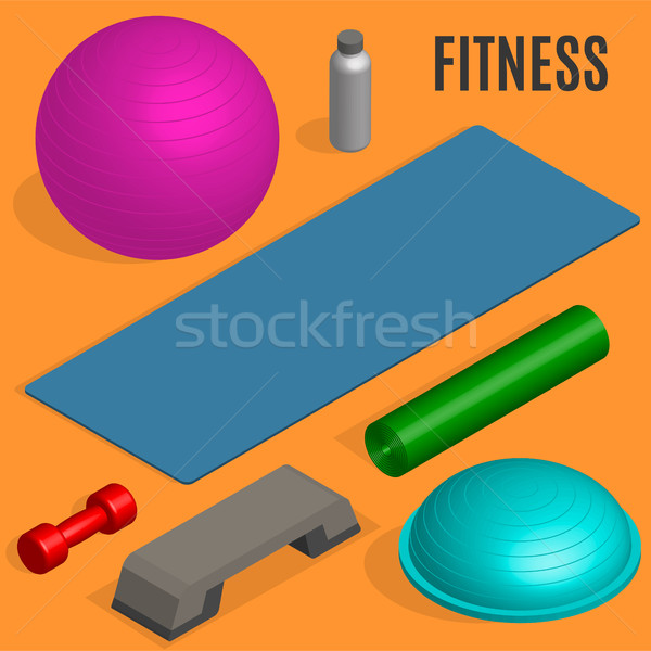 Flat design elements for fitness, vector illustration. Stock photo © kup1984