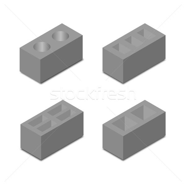 A set of isometric cinder blocks, vector illustration. Stock photo © kup1984