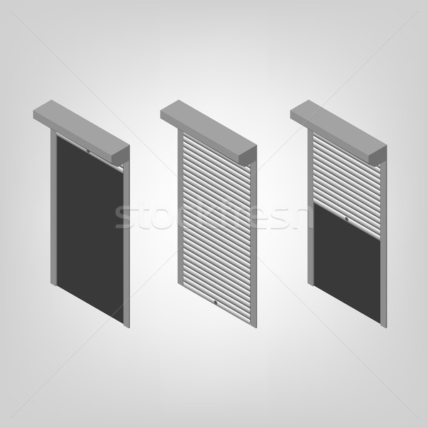 Steel security shutters isometric, vector illustration. Stock photo © kup1984