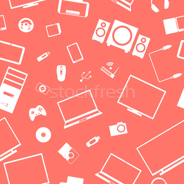 Seamless background from digital devices, vector illustration. Stock photo © kup1984