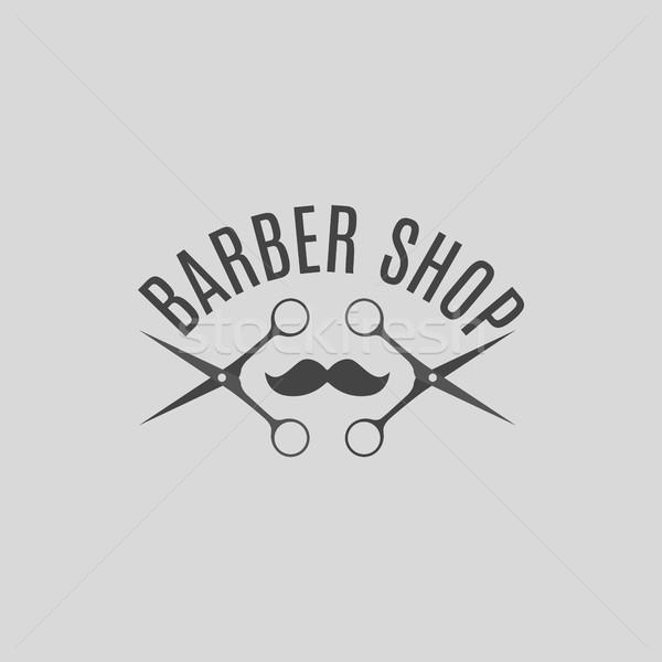 Cinza emblema barbeiro compras logotipo etiqueta Foto stock © kup1984