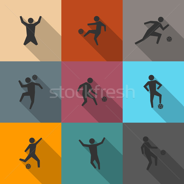 Set of icons soccer players, vector illustration. Stock photo © kup1984