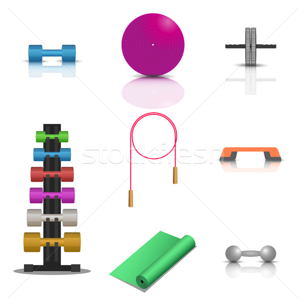 Sports fitness icons, vector illustration. Stock photo © kup1984