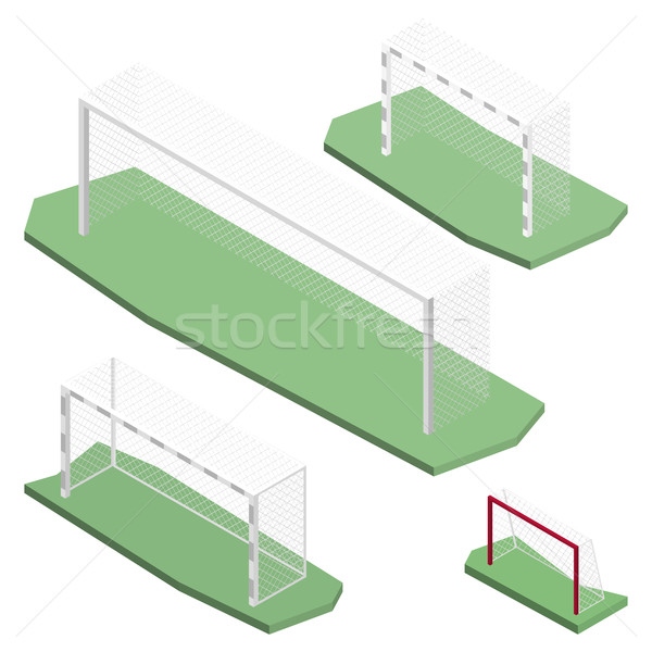 Gate for playing soccer in isometric, vector illustration. Stock photo © kup1984