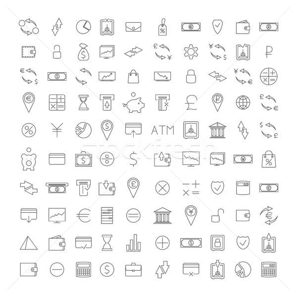 Establecer uno cien iconos Foto stock © kup1984