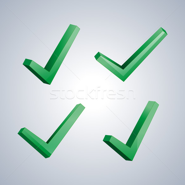 Set of check marks, vector illustration. Stock photo © kup1984