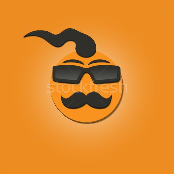Funny twarzy wąsy okulary żółty wektora Zdjęcia stock © kup1984