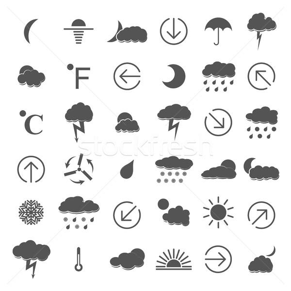 Weather icons, vector illustration. Stock photo © kup1984