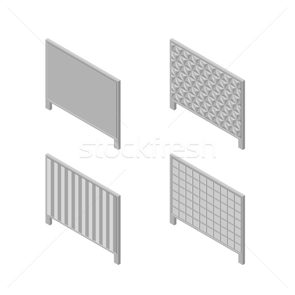 A set of isometric spans fences, vector illustration. Stock photo © kup1984