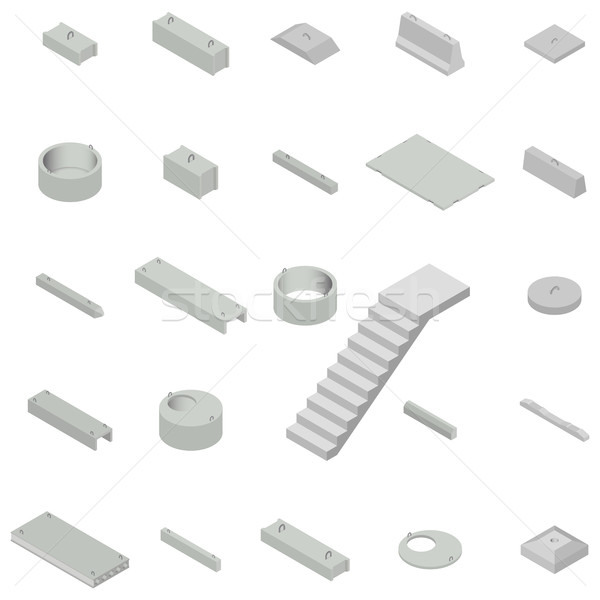 Set the iron concrete products isometric, vector illustration. Stock photo © kup1984