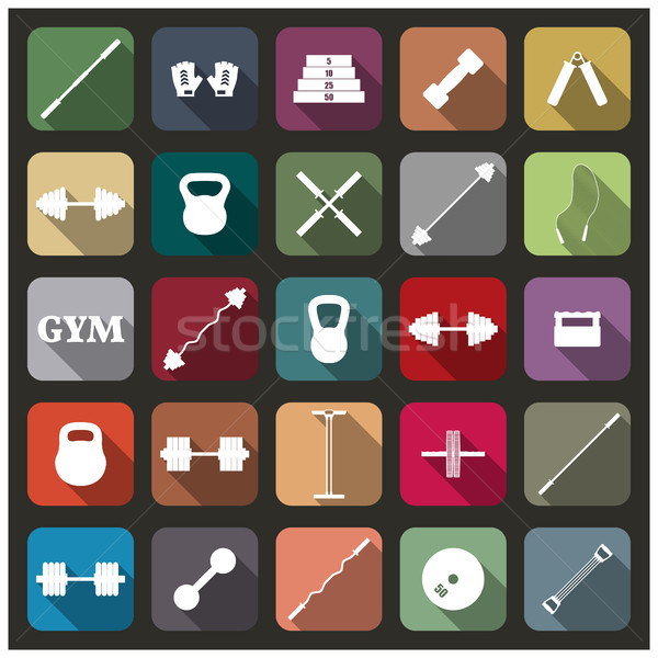 Icons equipment for the gym, vector illustration Stock photo © kup1984