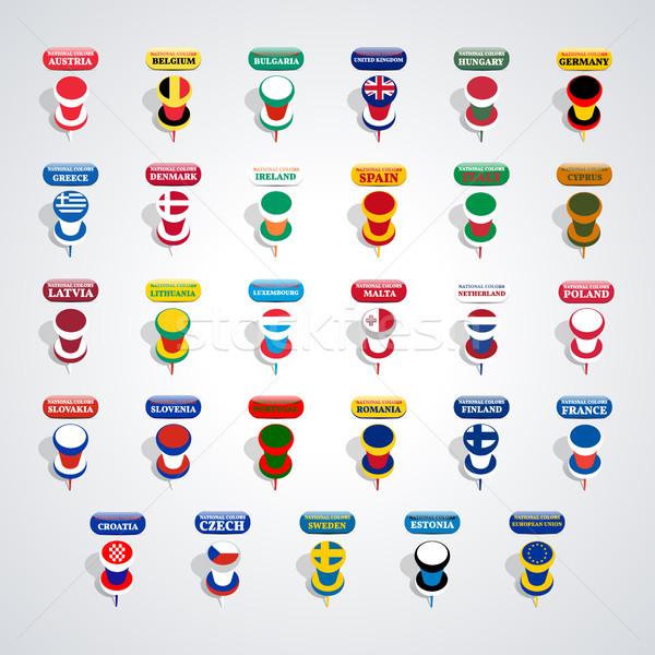 Ingesteld kleuren landen europese unie ontwerp Stockfoto © kup1984