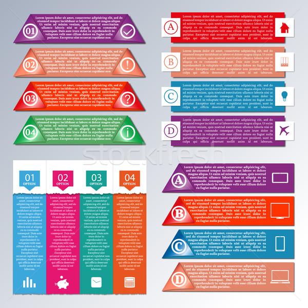 Elemek infografika szett fényes papír üzlet Stock fotó © kup1984