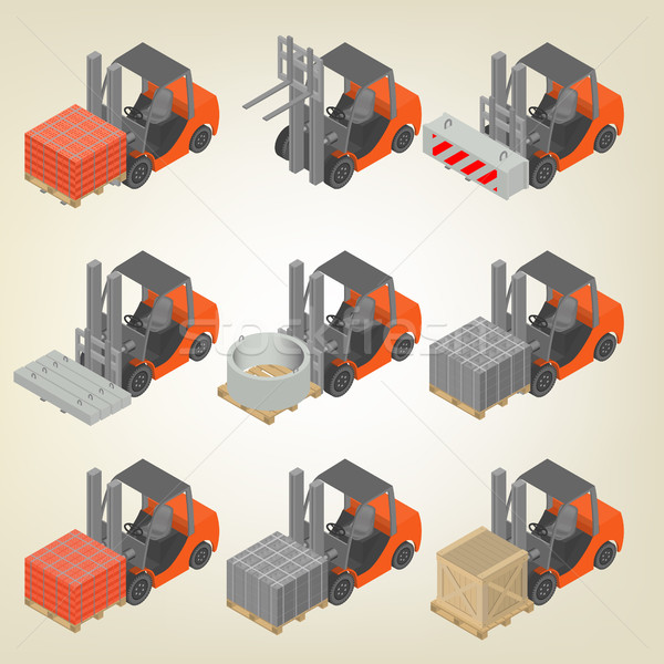 Icon forklift with cargo isometric, vector illustration. Stock photo © kup1984