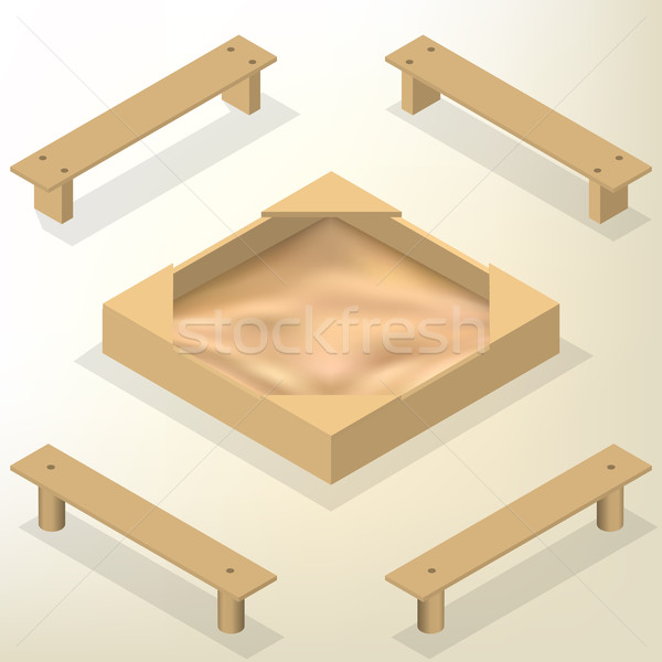Sandbox with benches in isometric, vector illustration. Stock photo © kup1984
