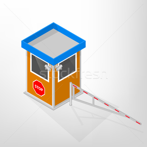 Security lodges with a mechanical barrier isometric, vector illustration. Stock photo © kup1984
