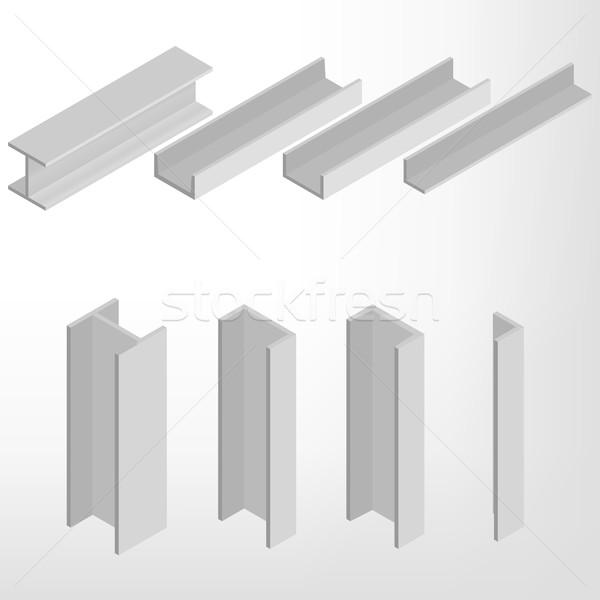 Acier poutre isométrique isolé blanche design Photo stock © kup1984