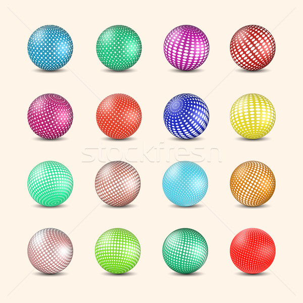 Set of glossy colored balls with halftone fill, vector illustration. Stock photo © kup1984