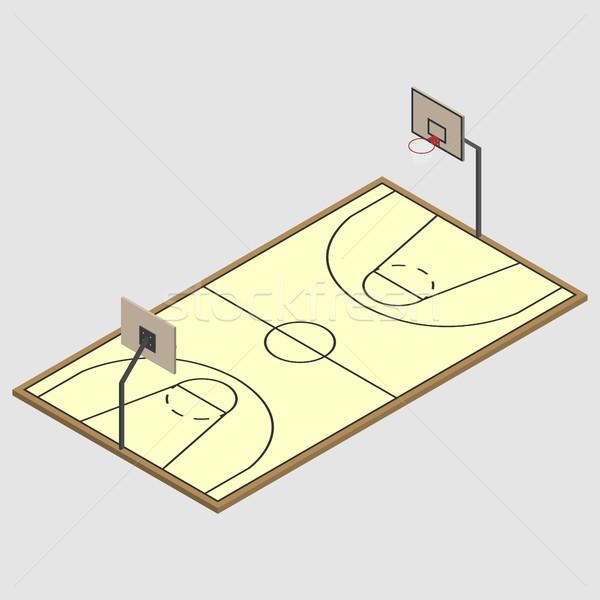 Field of play basketball isometric, vector illustration. Stock photo © kup1984