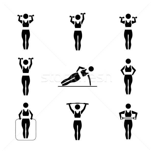 セット スティック 黒 女性 シルエット スポーツ用品 ストックフォト © kup1984