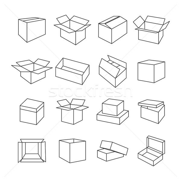 иконки окна набор икона тонкий Сток-фото © kup1984