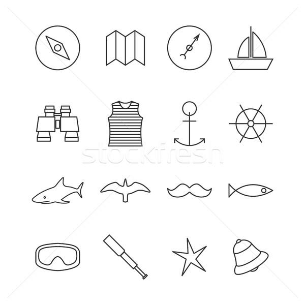 Zestaw morski ikona cienki Zdjęcia stock © kup1984