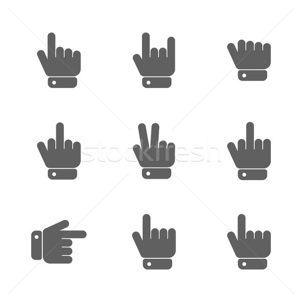 Hand gestures icons, vector illustration. Stock photo © kup1984