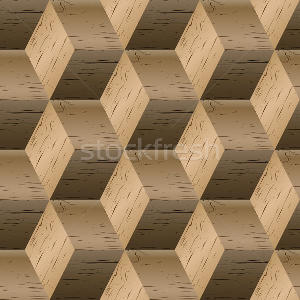Seamless pattern of wooden cubes, vector illustration. Stock photo © kup1984