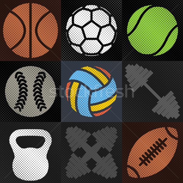Szett sport hátterek elemek sportfelszerelés halftone Stock fotó © kup1984